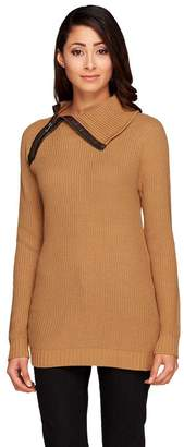 Lisa Rinna Collection Zip Neck Sweater w/ Faux Leather Trim