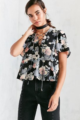 Kimchi Blue Judy Lace-Up Flutter-Sleeve Blouse $49 thestylecure.com