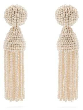 Oscar de la Renta Bead Embellished Tassel Drop Earrings - Womens - White
