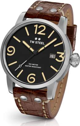 TW Steel Maverick Leather Strap Watch, 48mm