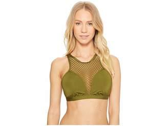Jantzen Mesh Solids High Neck Bikini Top Women's Swimwear