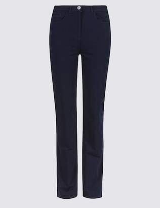 Marks and Spencer Cotton Rich Stretch Straight Leg Trousers
