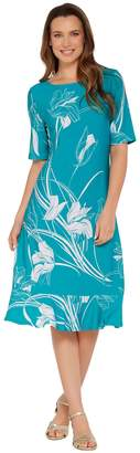 Susan Graver Printed Liquid Knit Dress with Ruffle Detail