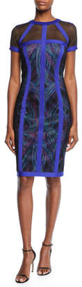 Tadashi Shoji Short-Sleeve Mesh Sheath Dress with Contrast Trim