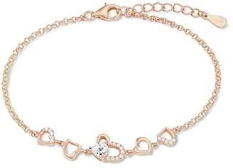 Amor Amor, women's heart bracelet, 925 silver, rose gold plated, white zirconia, 17 cm with 3 cm extension