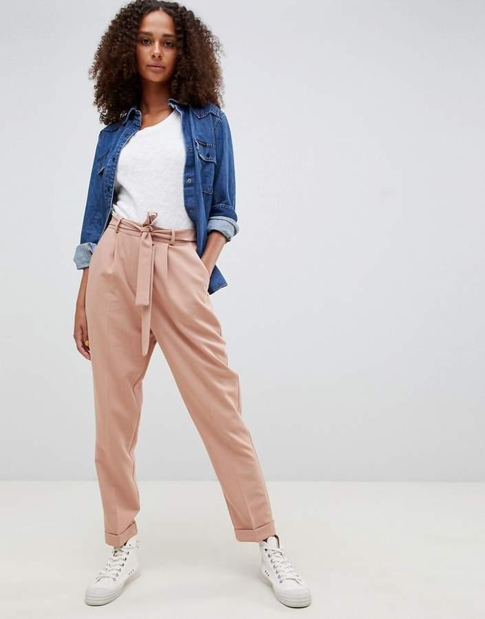 ASOS DESIGN woven peg pants with obi tie