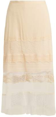 Jonathan Simkhai Lace-panel silk-georgette skirt
