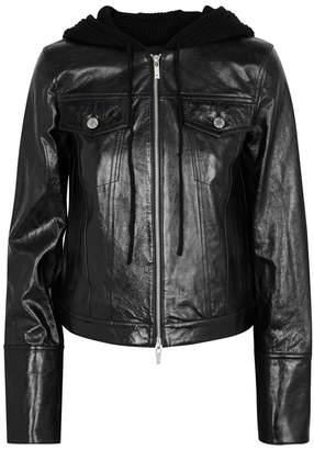 Helmut Lang Black Hooded Leather Jacket