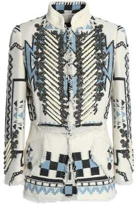 Roberto Cavalli Suede-Trimmed Embellished Woven Jacket