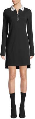 Cotton Pique Polo Short Zip-Front Shirtdress