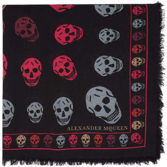 Alexander McQueen Black and Bordeaux Skull Scarf