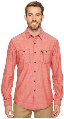 U.S. Polo Assn. Slim Fit Solid Long Sleeve Sport Shirt Men's Clothing
