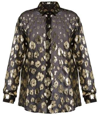 Saint Laurent Floral Fil Coupe Silk Blend Chiffon Blouse - Womens - Black Gold
