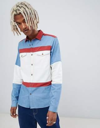 Asos DESIGN oversized color block denim shirt