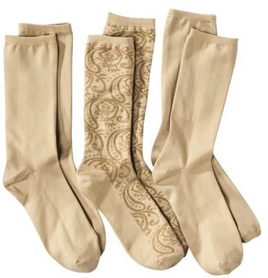 Merona Women's 3pk Nylon Socks- Assorted Colors and Patterns