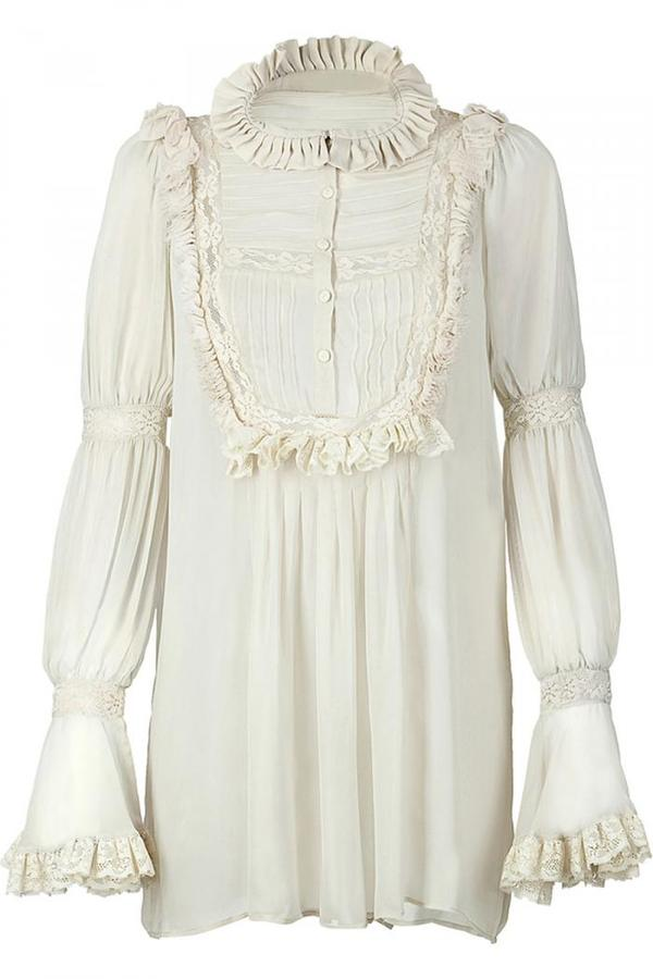Roberto Cavalli Vanilla Laced Top With Ruffle Detailing