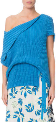 Roland Mouret Draped One-Shoulder Ribbed Sweater