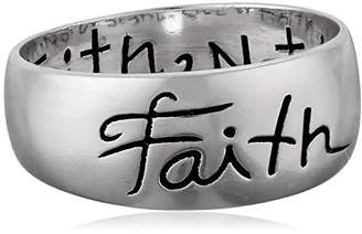 """Sterling """"Faith"""" Inscribed Outside and """"Live By Faith Not By Sight"""" Inside Ring"""