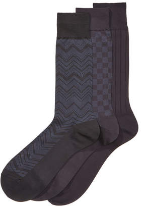 Perry Ellis Men's 3-Pk. Microfiber Patterned Socks