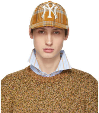 Gucci Tan NY Yankees Edition Plaid Patch Cap