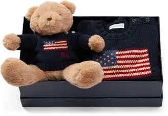 Ralph Lauren Flag Sweater & Bear Gift Set