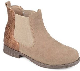 Brinley Co. Toddler Girls' Two-tone Metallic Embellished Heel Faux Suede Chelsea Boots