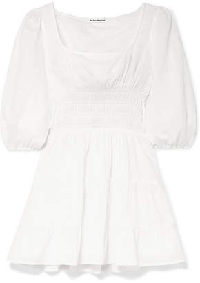 Reformation Verona Shirred Tiered Cotton-gauze Mini Dress - White