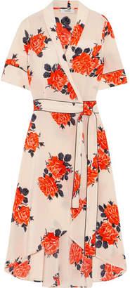 GANNI - Harness Floral-print Silk Crepe De Chine Wrap Dress - Pastel pink $440 thestylecure.com