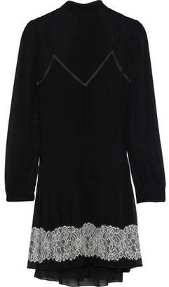 RED Valentino Tie-Back Lace-Trimmed Georgette Mini Dress