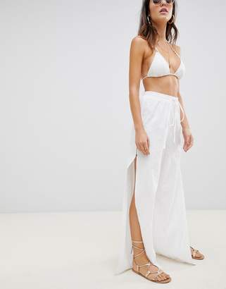 Asos DESIGN beach pants in linen with side split & tortoiseshell buttons