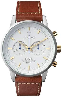 Triwa Snow Nevil Chronograph Leather Strap Watch, 42mm