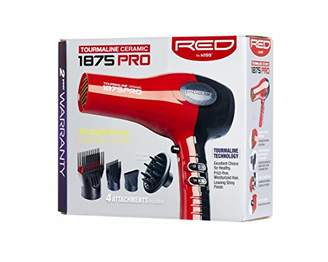 Kiss Red by 1875 Pro Watt Ceramic Tourmaline Hair Dryer with 4 Additional Styling Attachments