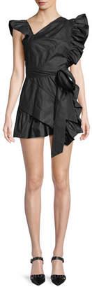 Isabel Marant Malvern Asymmetric-Neck Side-Ruffle Cotton Mini Dress