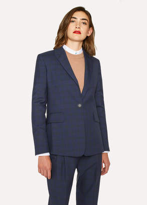 Paul Smith Women's Slim-Fit Blue Tonal Check One-Button Wool Blazer