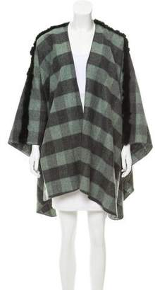 Donni Charm Fur-Trimmed Open Front Poncho