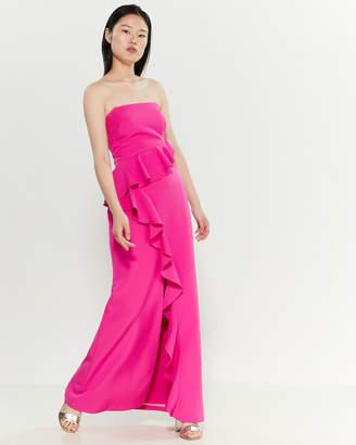 Vince Camuto Strapless Cascade Ruffle Maxi Dress