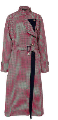 Cédric Charlier Oversized Belted Plaid Cotton Coat
