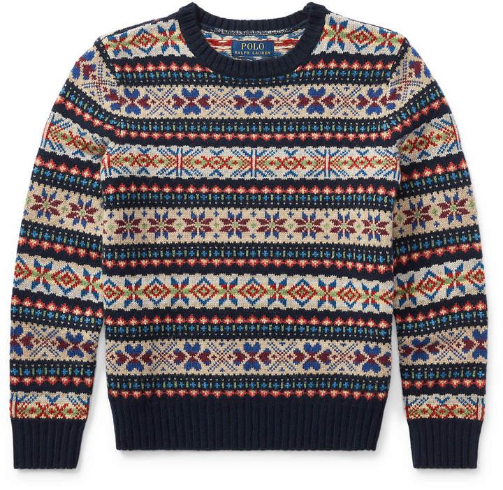 Suede-Trim Wool-Blend Sweater