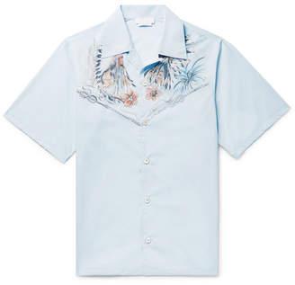 Prada Camp-Collar Printed Cotton-Poplin Shirt