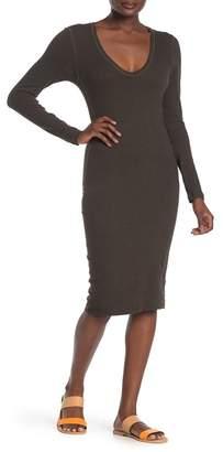 James Perse Scoop Neck Fleece Midi Dress