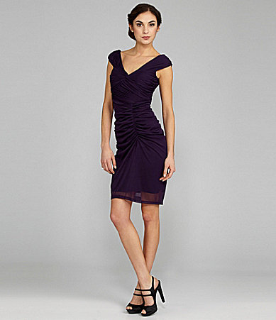 Adrianna Papell Cap-Sleeve Shirred Dress