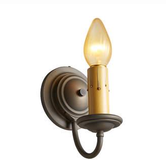 Rejuvenation Simple Antiqued Brass Colonial Revival Candle Sconce