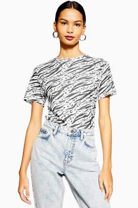 Topshop Womens Tall Monochrome Mesh T-Shirt - Monochrome