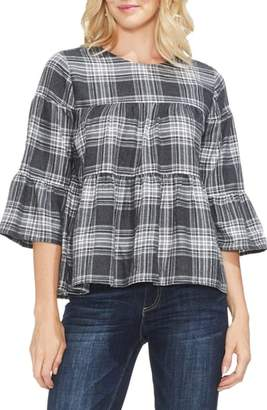 Vince Camuto Brushed Plaid Tiered Ruffle Top