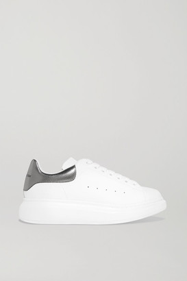 Alexander McQueen Leather Exaggerated-sole Sneakers - White