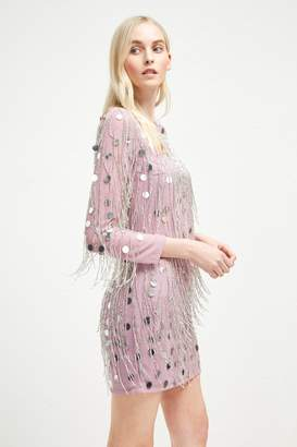 French Connenction Baani Fringe Beaded Tunic Dress