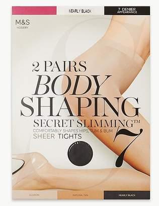 "Marks and Spencer 2 Pair Pack 7 Denier Secret Slimmingâ""¢ Sheer Body Shaper Tights"