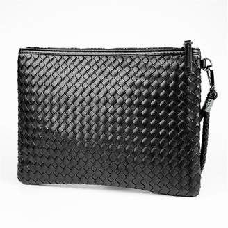 f370b515019f CHAOS Mens Womens Faux Leather Weaved Clutch Bag Retro Handbag Envelove Bag  File Package