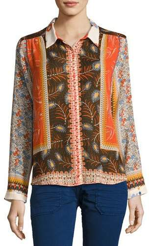 BA&SH ba&sh Rosso Mixed Floral Shirt, Orange