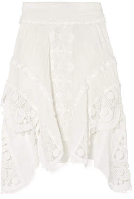 Chloé Asymmetric Crocheted Lace-trimmed Linen Skirt - White
